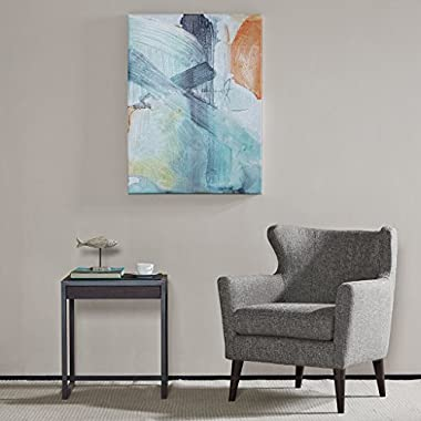 Blue Skies Abstract Hand Embellished Blue Canvas Wall Art 39X29, Contemporary Modern Painted Wall Décor