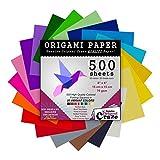 Papel Origami, 500 hojas, calidad premium para artes y manualidades, hojas cuadradas de 6 pulgadas, 20 colores vivos, mismo color en ambos lados, libro electrónico de 100 diseños incluido (ver parte trasera de la cubierta para descargar)
