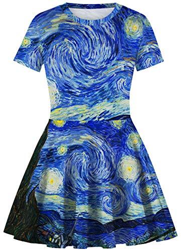 Ocean Plus Niña Casual Retro Vestido Manga Corta Niñas 50s Vendimia Fiesta Impresión Digital Falda Plisada Vestido de Columpio (S (Altura: 135-145 cm), Noche Estrellada)