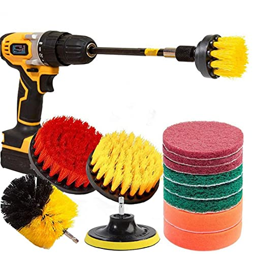 Wall Drill Brush Power Brush Attachment Set Multi Scrub Brush for Stove Oven Sink Outdoor 14PCS