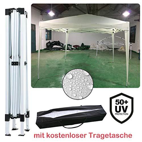Yiyai 3x3m Pop Up Falt Pavillon - 100% WASSERDICHT | UV-Schutz 50+ | inkl. Tasche Hochleistungszwecke Zelt Marquee(Ohne Seitenteile) Beige