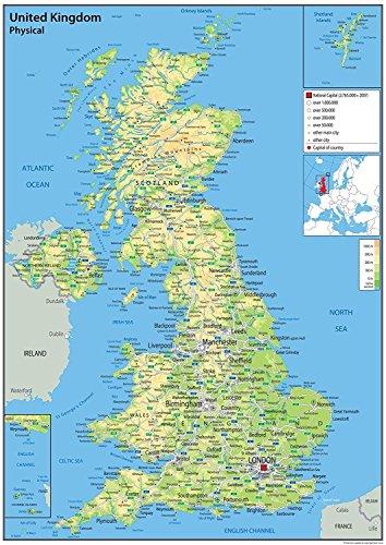 Karte des Vereinigten Königreichs – Physikalisch – 59,4 x 84,1 cm (A1) – Papier laminiert – Verwendung in Klassenzimmer, Büro und Zuhause [GA]