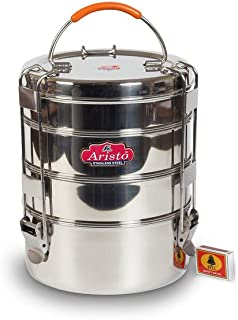 Aristo Stainless Steel Travelling Tiffin/Lunch Box With 4 Containers + Free 3 Plates, Diameter 20.5 cm best for picnic and outing