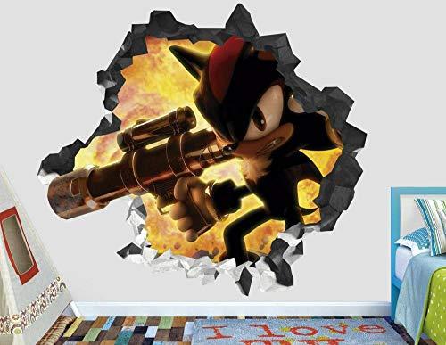 Pegatinas de pared Hedgehog acción calcomanía de pared decoración niños aplastados 3d pegatina de vinilo de arte