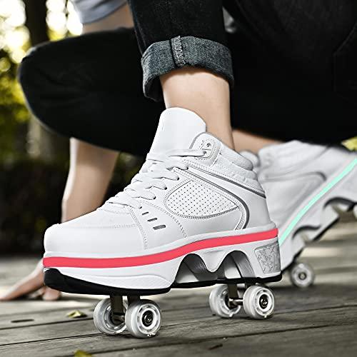 XRDSHY Zapatos Deformados Multifuncionales para Viajes De Patinaje Deportivo Al Aire Libre Patín De Ruedas para Niños Niñas Zapatos con Ruedas con Rueda Retráctil, Luces LED,White-EU41/27.3cm
