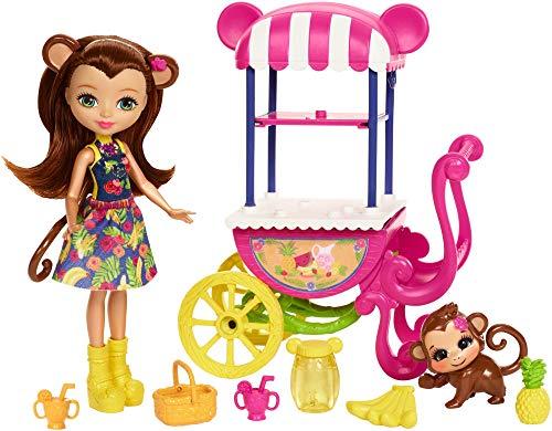 Enchantimals Mattel FCG93 - Affenmädchen Merit Monkey Puppe und Obst-Stand