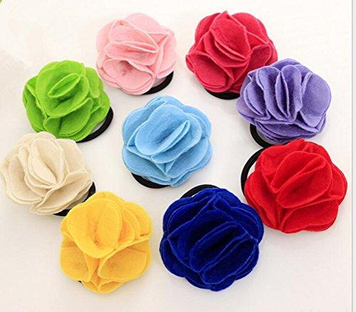 Cuhair (TM) 10 pcs Cute Pretty Vêtements Rose Flower Girl Kid élastique Bandes de cheveux Cravate Corde en caoutchouc Queue de cheval support Accessoires Cheveux Chouchou