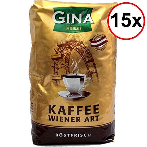 Gina Originale Kaffee Wiener Art röstfrische Kaffeebohnen VPE (15x1kg Beutel)