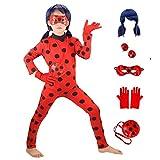 GREAHWD Fille Vêtements Perruque Déguisement Fille Coccinelle Combinaison Masque Sac Bodysuit Perruque Cosplay Costume de Carnaval 3-10 Ans Halloween Noël Fête Cadeau (Vêtements et Perruques) (M)
