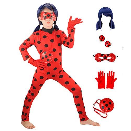 GREAHWD Ladybug Mädchen Marienkäfer Kostüm Perücke Kinder Halloween Karneval Marinette Overall Party Cosplay 6er Set