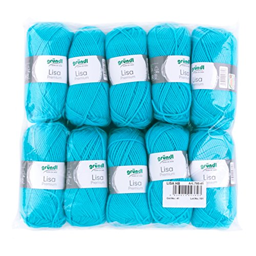 Gründl Lisa Premium Wolle, Polyacryl, türkis, 133 m, Nadelstärke 3,5- 4,5, 10er Pack