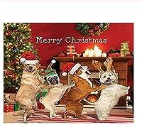 クリスマスに一緒に踊る犬 300/500/1000 ピースジグソーパズル 木製ジグソー大人の子供脳チャレンジ