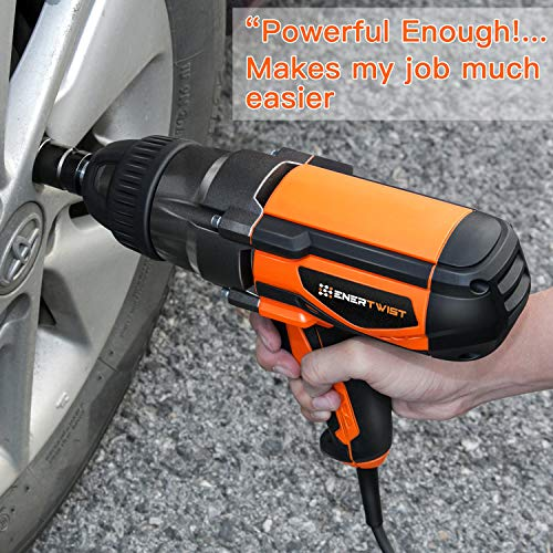 Enertwist Electric Impact Wrench 1/2 Inch with Hog Ring Anvil, Heavy Duty 8.5 Amp Corded 450 Ft.lbs Max Torque, ET-IW-1020