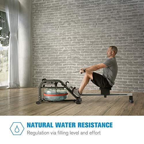 Capital Sports Rowlympic Wasserrudergerät Ruderbank, gleichmäßiges & gelenkschonendes Training, 120 cm Lange Gleitbahn, Wasserwiderstand mit Regulierung durch Wasserfüllstand, Aluminium - 2