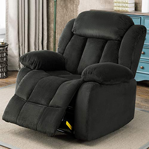 ANJ Breathable Fabric Recliner Chairs, Overstuffed Wall Hugger Manual Reclining Chair Single Sofa for Living Room (Forest Green)