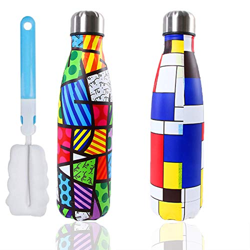 Botella de Agua de Acero Inoxidable 500 ml, Doble Walled Vacuum Insulated Botella térmica Botella de Agua Reutilizable Bpa Free + Cepillo de Limpieza, 2