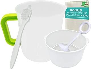 Food Strainer for Nut Milk, Greek Yogurt and Fruit with Pitcher, Nut Milk Bag, Stainless Steel Fine Mesh Filter, Set for Food (1.5 Quart Pitcher, 1 Quart Strainer, Small Size)