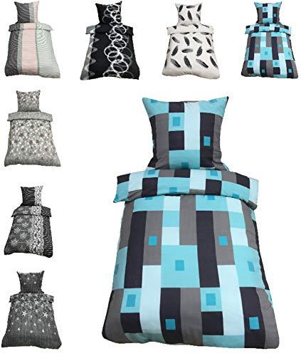 Leonado-Vicenti Thermofleece Bettwäsche 2 TLG / 4 TLG / 3 TLG Flausch Winter Garnitur Bettbezüge, Maße:2 teilig 135x200 cm, Farbe:Karo türkis grau