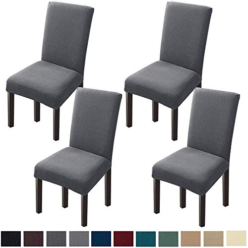 Chair Covers for Dining Room Stretch Dining Chair Slipcover Parsons Chair Covers for Dining Room, Kitchen(Set of 4, Gray)