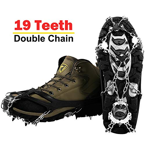 YOMYM Ice Crampons Ice Cleats 19 Teeth Stainless Steel Chain AntiSlip Snow Grips with 2 Straps Shoe Spikes Crampons for Winter Walking Ski Ice Climbing Mountain Boots Size L