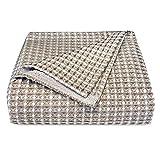 Zenssia Decke aus 100 prozent Baumwolle, Waffelgewebe, für Heimdekoration, weich, atmungsaktiv, bequem, Thermodecke alle Jahreszeiten, perfekt Bett, Couch, Sofa, Queensize-Bett (228,6 x 228,6 cm), Kaffeebraun