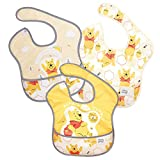Bumkins SuperBib, Baby Bib, Waterproof Fabric, Fits Babies and Toddlers 6-24 Months - Disney Winnie The Pooh Honey (3-Pack)