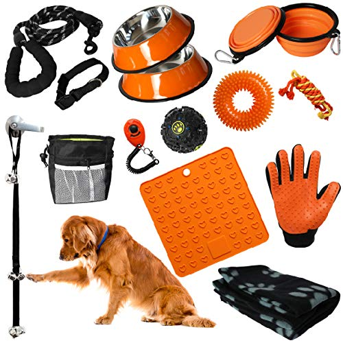 AMZngPETS - Puppy Starter Kit 15pc Accessories for Small Dogs. Supplies include Dog Leash, Collar, Training Aids, Lick Pad, Toys, 2 Collapsible Bowls, Small Dog Accessories & Essentials All-in-One Set