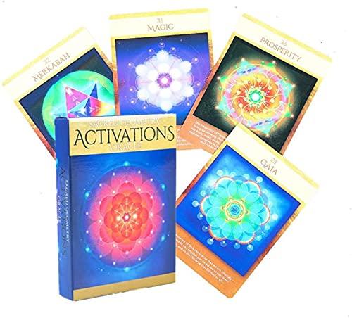 YQRX Activaciones de Geometría Sagrada Oraclas, Juego de Mesa Jugando Tarot Decks, Destiny Destiny Board Games Tarjetas para el Juego de la Fiesta Familiar (Bolsas, manteles)