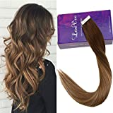 LaaVoo 14 Pulgadas Rooted Tape para Extensiones de Cabello Highlighted Medium Brown to...
