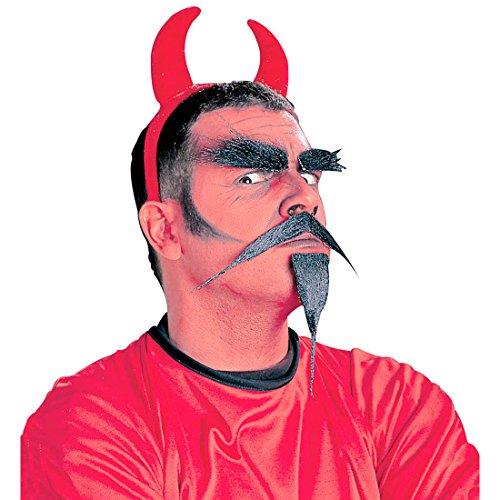 Amakando Set Diable avec barbichette Moustache et Sourcils kit Satan Enfer barbichette Cils soirée à thème Halloween Accessoire