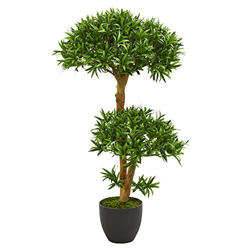 Nearly Natural 3' Bonsai Styled Podocarpus Tree Artificial Plant, Green