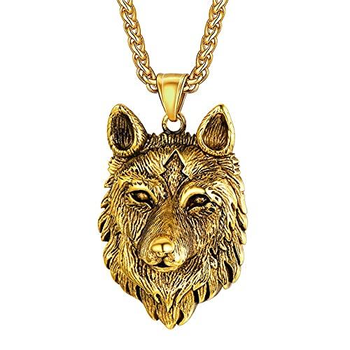 DFWY Collar Vikingo con Colgante de Lobo Celta Nórdico Fenrir para Hombres Y Mujeres, Amuleto de...
