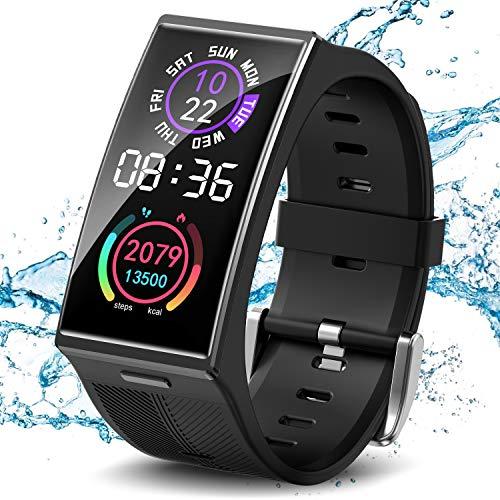 TICWRIS Smart Watch,Fitness Armbanduhr mit Blutdruckmessung, Herzfrequenz, Schlafüberwachung, 1,91 Zoll 3D-gebogener Bildschirm Wasserdicht IP68 Fitness Tracker Smartwatch für Damen Herren(Schwarz)