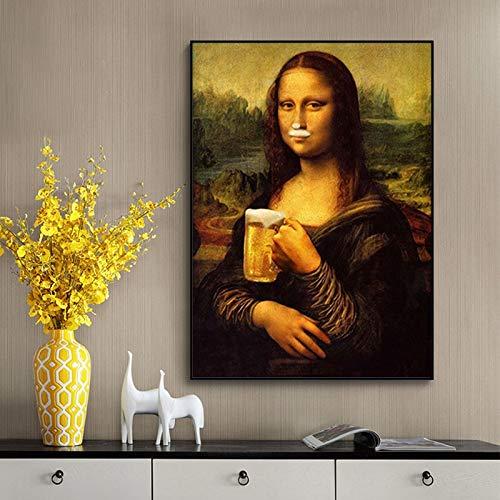 wojinbao Poster di Arte nordicaDivertente Parodia di Mona Lisa Che beve Birra Tela su Tela Poster e Stampa Quadro Quadro per Soggiorno Cuadros Home Decor