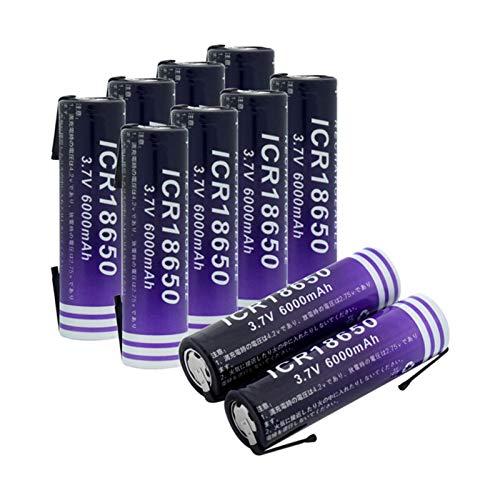 RitzyRose 18650 - Batería recargable de iones de litio de 3,7 V, 6000 mAh, batería de repuesto plana para micrófono Power Bank 10 unidades