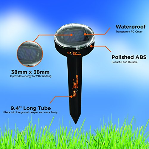 Solar Exterminator mole Repellent, Sonic Solar repellents, Water Resistant, Fights Off Gophers, Voles, Snakes, Shrews