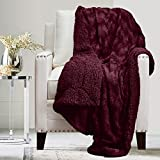 The Connecticut Home Company Soft Fluffy Warm Faux Fur and Sherpa Throw Blanket, Luxury Thick Fuzzy Blankets for Home and Bedroom Décor, Comfy Washable Accent Throws for Sofa Beds Couch, 65x50, Merlot