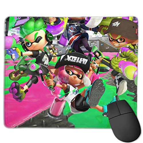 Splatoon Mouse Pad Stitched Edges Non-Slip Rubber Base Mousepad for Laptop, Computer & PC, 12 x 10 inches