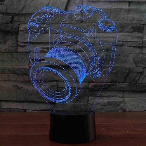 A-Generic Lámpara de Mesa de Modelado 3D con cámara, 7 Colores, atmósfera, luz de Noche LED, Regalos para niños, Accesorio de luz para Dormir para bebés, decoración de Dormitorio