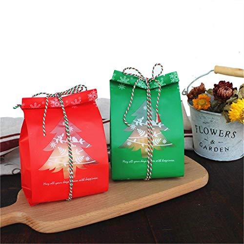 PUTING - 100 Sacchetti per Biscotti, Caramelle, Albero di Natale, 20 cm, con spago Rosso Verde e Bianco da 100 m Albero di Natale.