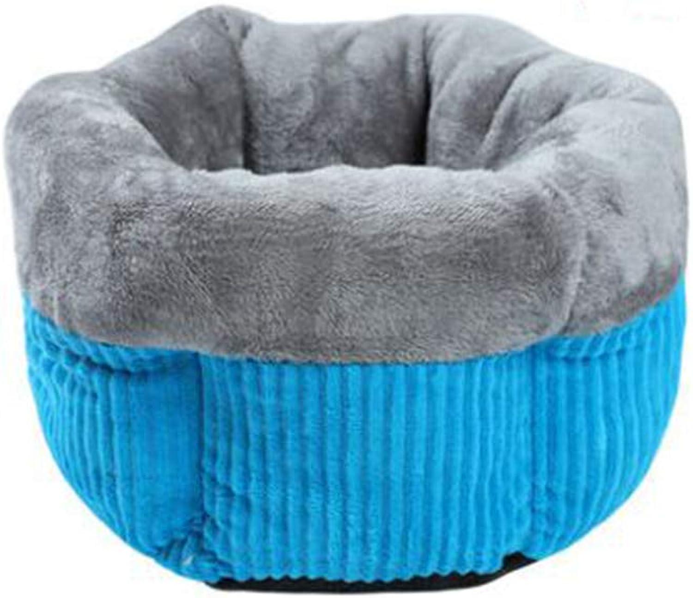 Cave Pet Bed,Ultra Soft Cozy Washable cat Dog mat eases pet Arthritis Hip dysplasia Pain Kennel Cushionbluee A M