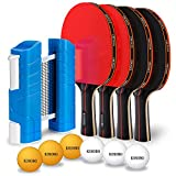 KOSOBO Ping Pong Paddles, with a Retractable Net, 6 Table Tennis Balls, Premium Table Tennis Set for Home,...