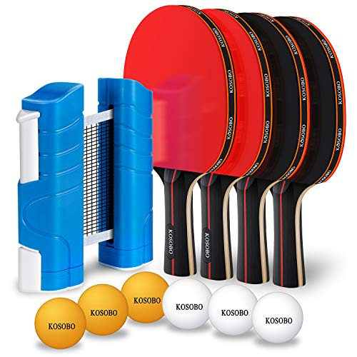 KOSOBO Ping Pong Paddles with a Retractable Net 6 Table Tennis Balls Premium Table Tennis Set for Home Office and Outdoor Playing