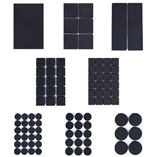 BESROY Rutschfeste Möbelunterlage,186 Antirutsch Pads aus Zellkautschuk, Filzunterleger,8 Größen Möbelgleiter für Möbel, Stühle und Tische, Hochwertig und Langlebig