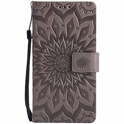 Huawei Ascend Mate 7 Case, Dfly Premium Soft PU Leather Embossed Mandala Design Kickstand Card Holder Slot Slim Flip Protective Wallet Cover for Huawei Ascend Mate 7, Grey