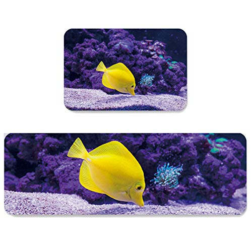 Futuregrace Doormats with Non-Slip Rubber Backing Absorbent Oil Proof Kitchen Rug, Yellow Fish Swimming in The Ocean 2pcs Kitchen Mats Sets for Entrance Home Decoration, 19.7x31.5in+19.7x63in