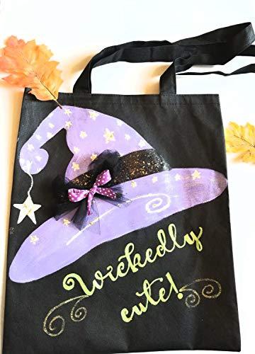 Wickedly Leuke Heks Halloween Trick of Behandel Tote Bag Zwart met Paarse Heks Hoed Sterren Tulle Lint Versiering Kostuum Accessoire Snoep