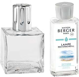 Lampe Berger Lamp Gift Set - Clear Cube, Includes Fragrance Ocean Breeze 180ml / 6.08 fl.oz.