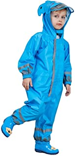 SSAWcasa One Piece Rain Suit Kids,Unisex Toddler Waterproof Rainsuit Rain Coat Coverall