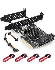 Rivo Tarjeta controladora de disco duro SATA III PCIe x4 Raid de 4 puertos con chipset Marvell 88SE9230 y tecnología HyperDuo, incluye 4 cables SATA y un soporte de perfil bajo